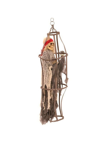 Caged Skeleton Halloween Prop
