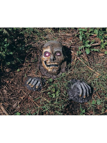Partially Buried Skeleton Graveyard Prop