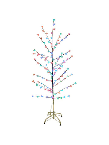 "Silver 58"" Retro Artificial Christmas Tree w/ Light Up Bells"