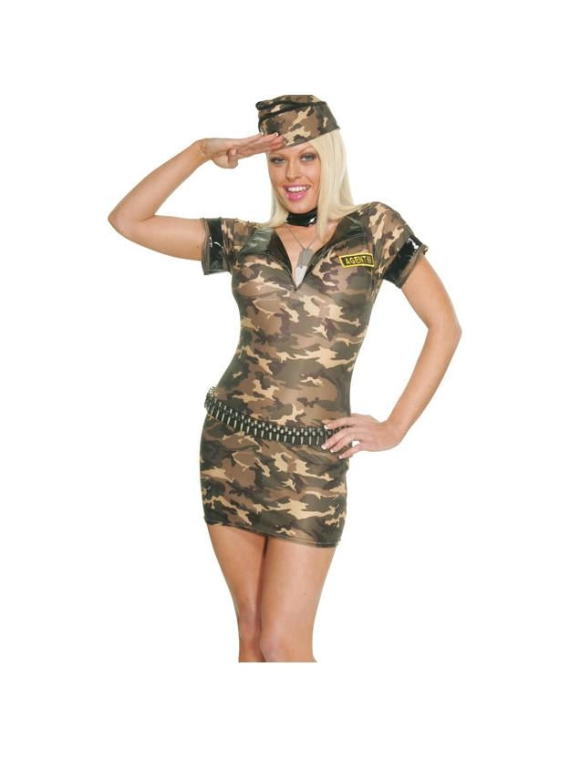 Adult Sexy Camo Girl Costume-COSTUMEISH