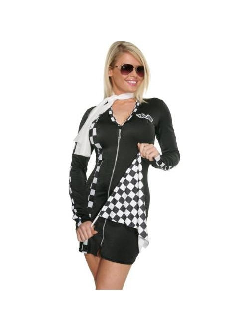 Adult Sexy Checkered Racer Costume-COSTUMEISH