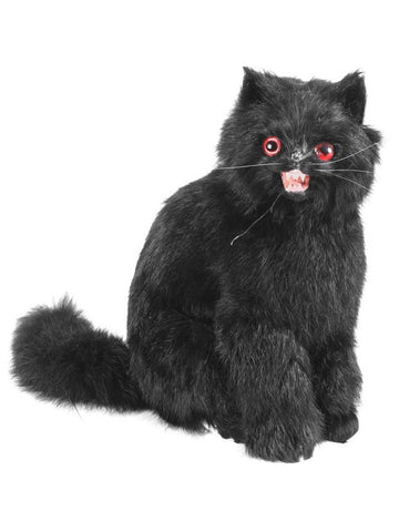 Sitting Black Scary Cat Halloween Prop