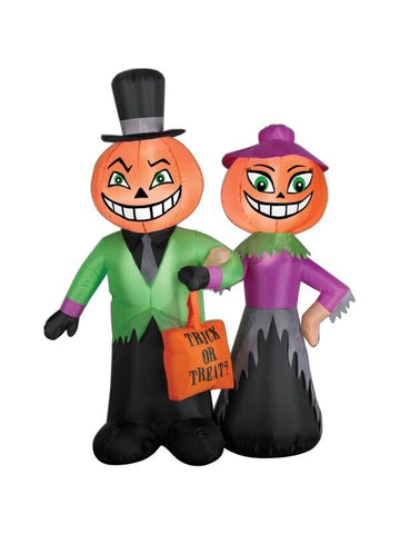 4ft Inflatable Halloween Pumpkin Head Couple