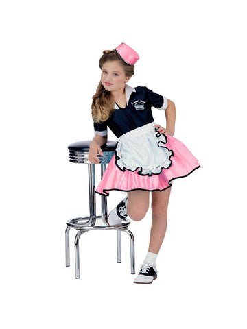 Pink Child 50s Car Hop Girl Costume-COSTUMEISH