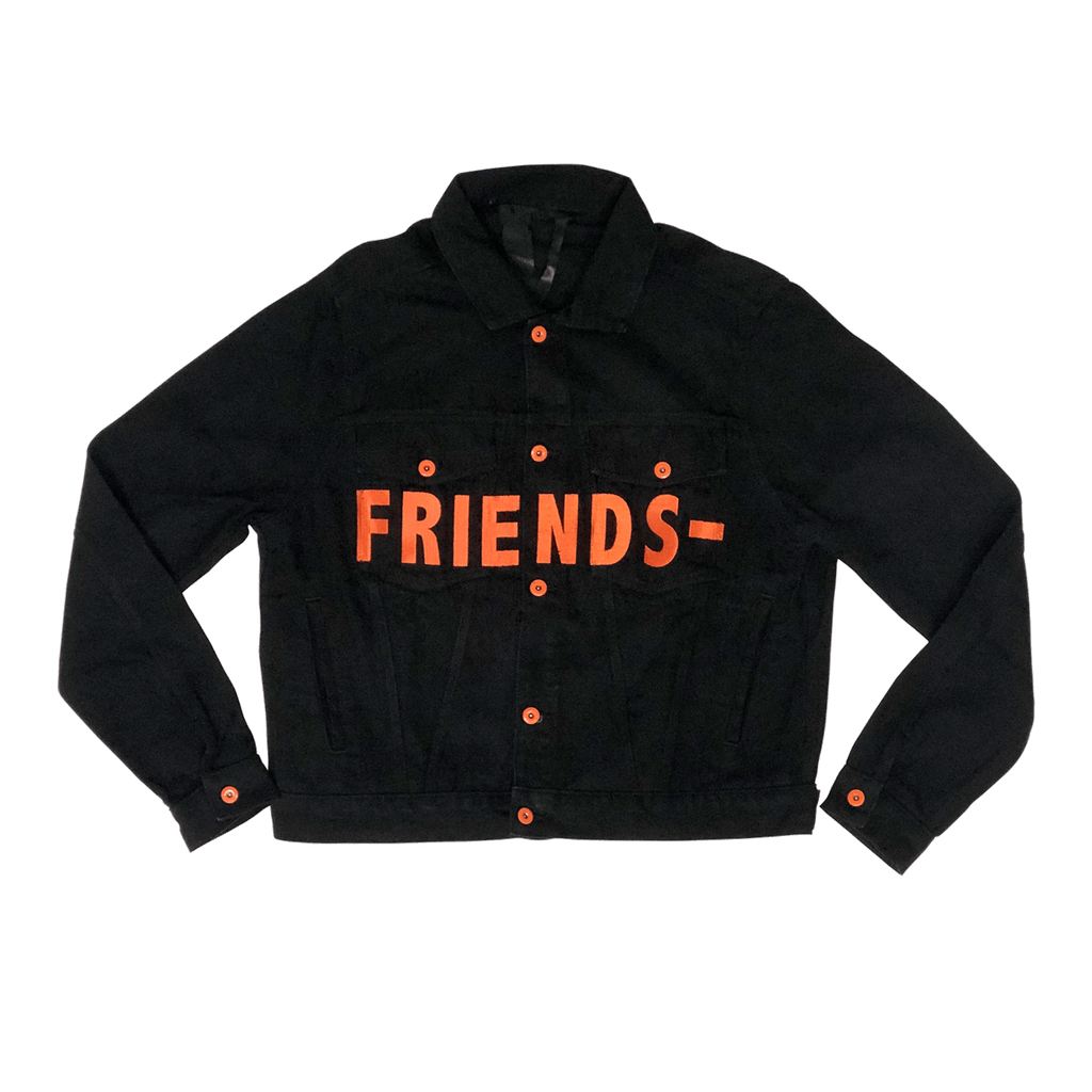 FRIENDS- BLACK & ORANGE DENIM JACKET