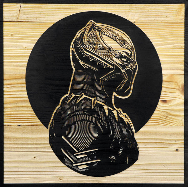 Black Panther Laser Etched Wood Portrait