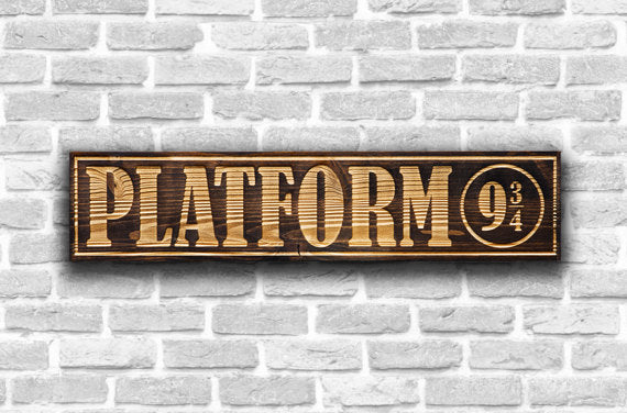 Harry Potter Platform 9 3/4 Wooden Sign
