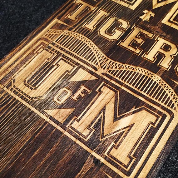 Memphis Tigers wall art with built in bottle opener