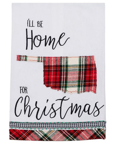 """I'll Be Home for Christmas"" Oklahoma Tea Towel"