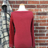 Long-Sleeve Crimson Embellished Top