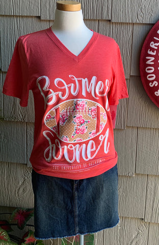 Boomer Sooner Floral Football V-Neck Tee