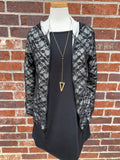 Black Lace Hoodie with Faux Leather Accents