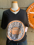 OK State University Leopard/Buffalo Check V-Neck Tee
