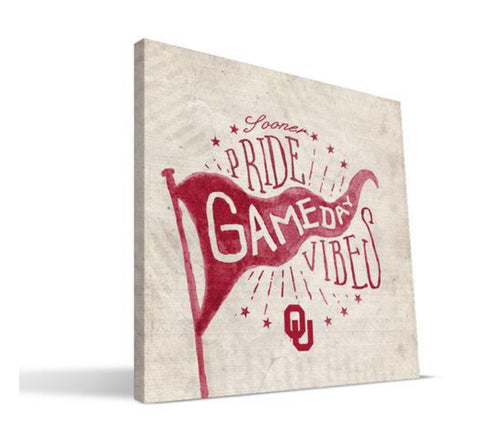 University of Oklahoma 'Game Day Vibes' 16 x 16 Canvas