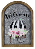 Tin/Wood Floral 'Welcome' Sign