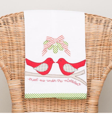 'Meet Me Under the Mistletoe' Tea Towel