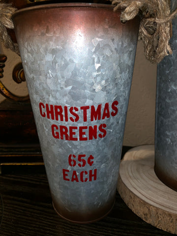 Christmas Themed Galvanized Pails