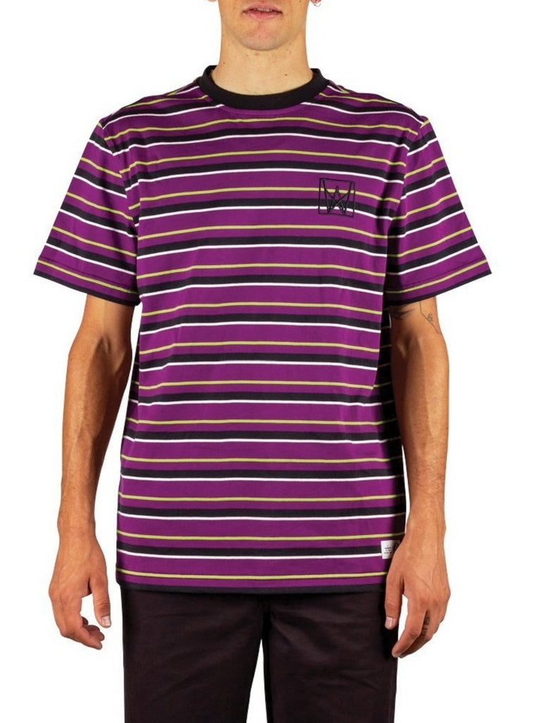 Welcome Icon Stripe Short Sleeve Stripe Knit Tee Purple/Black/Lime