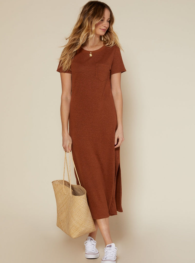 Outerknown Neptune Tee Dress Sepia