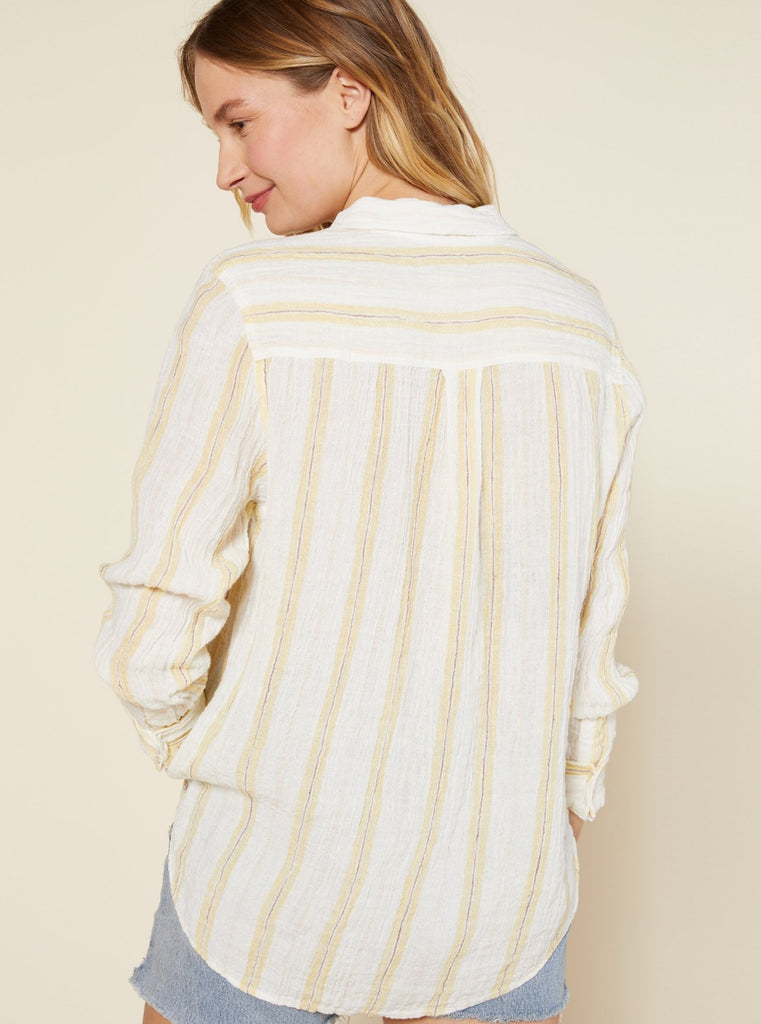 Outerknown Costa Shirt Stripe Sunbeam Sunlit Stripe