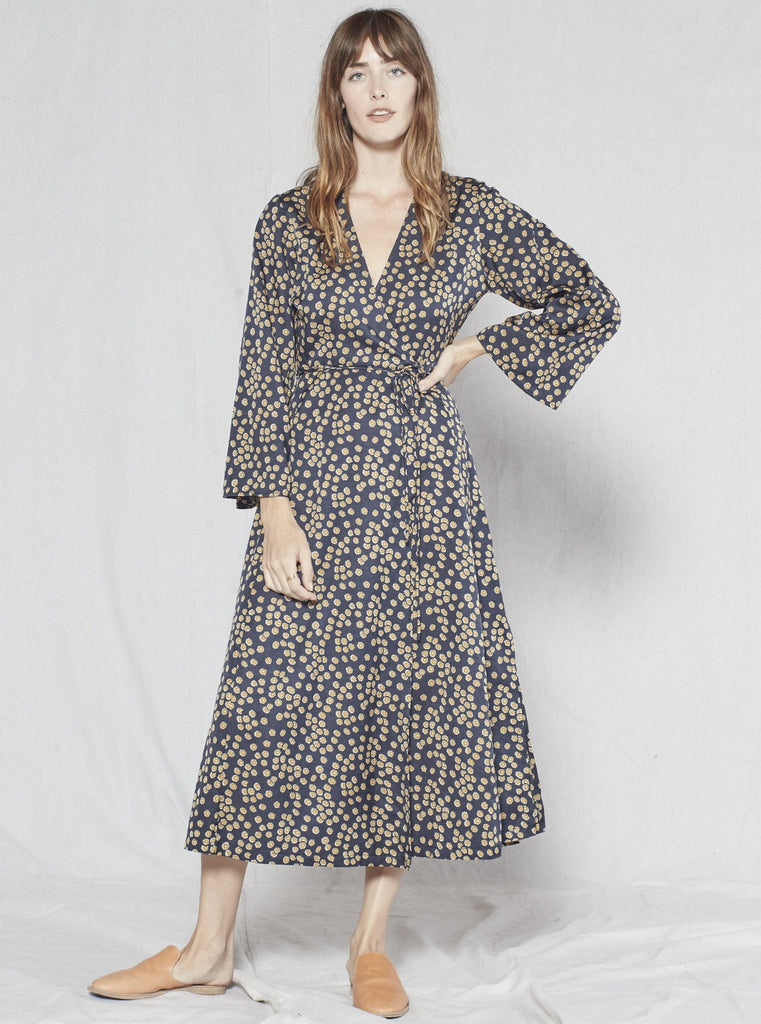 Outerknown Rhiannon Wrap Dress Black Laurel