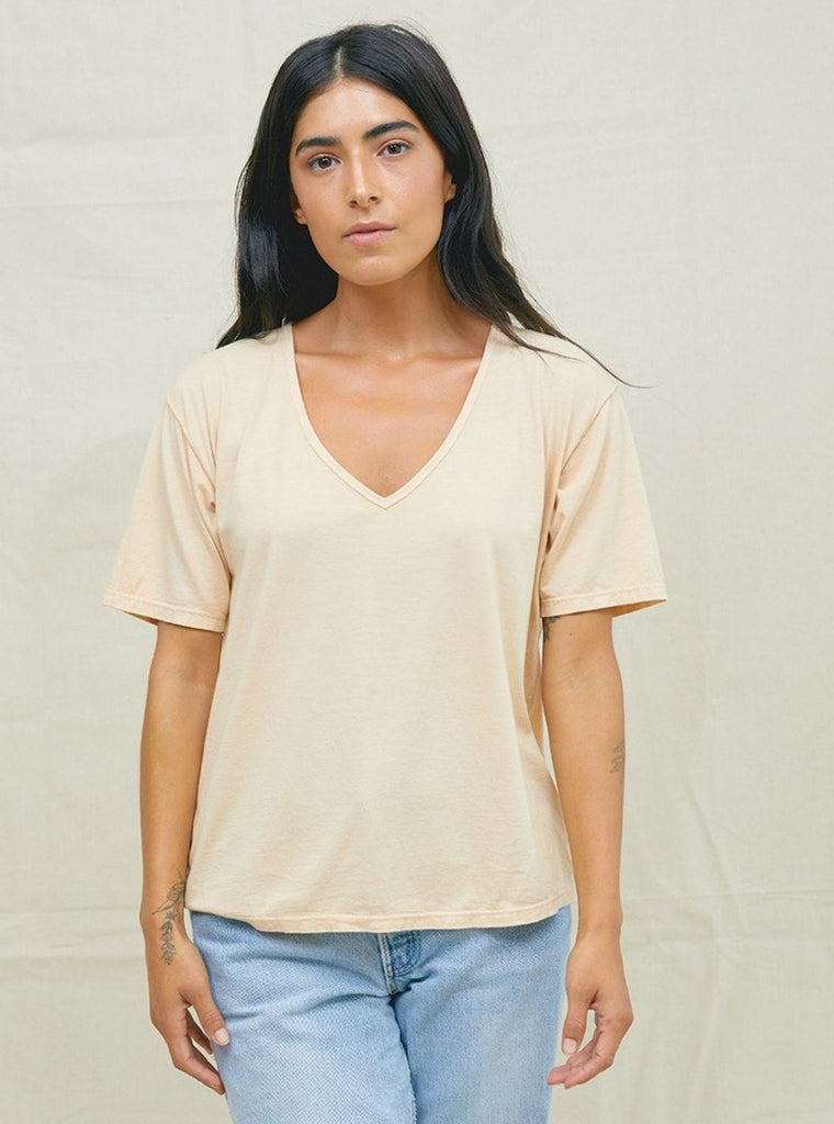 Back Beat Co Hemp V-Neck Tee Sand