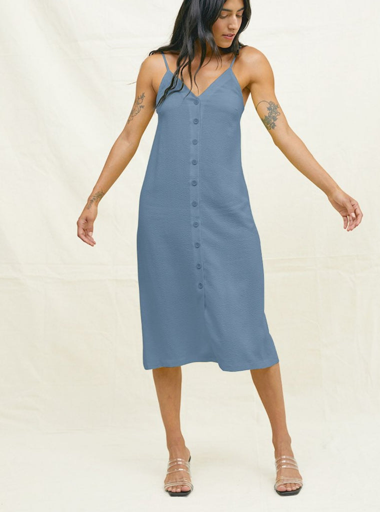 Back Beat Co Tencel Seersucker Slip Dress Denim Blue