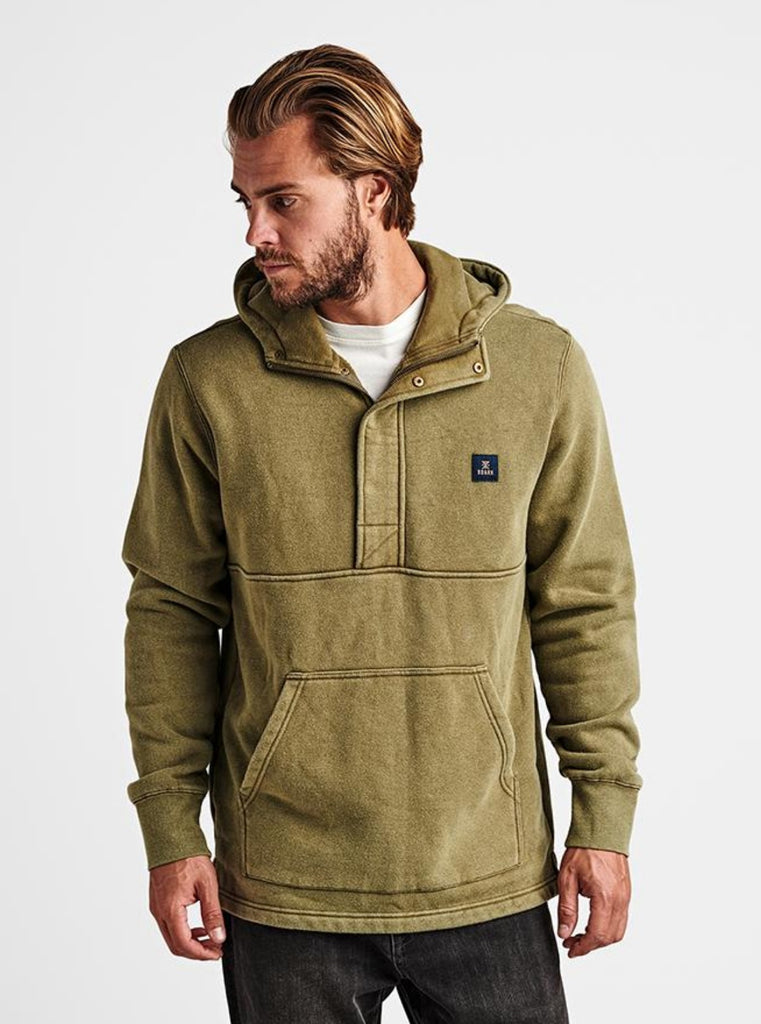 Roark Iverness Fleece Hooded Pullover Sweatshirt Dark Khaki