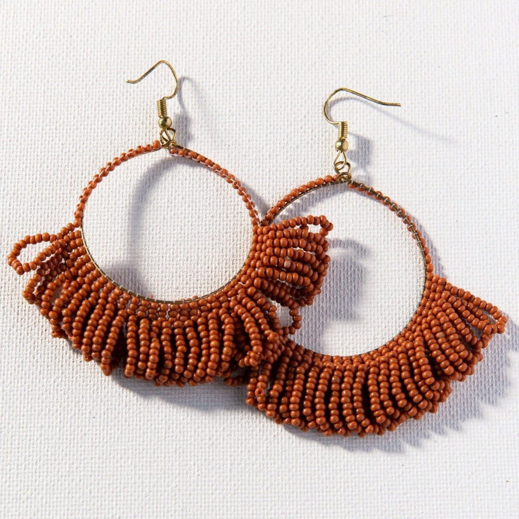 Ink + Alloy Beaded Fringe Hoops Rust