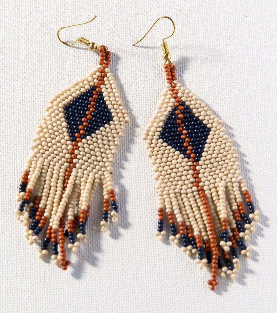 Ink + Alloy Ivory Navy Diamond Seed Bead Earring