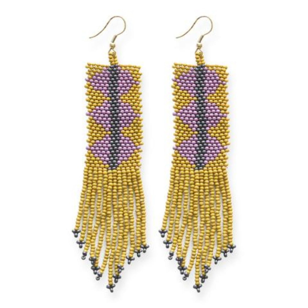 Ink + Alloy Triangle Seed Bead Earring Citron Lilac