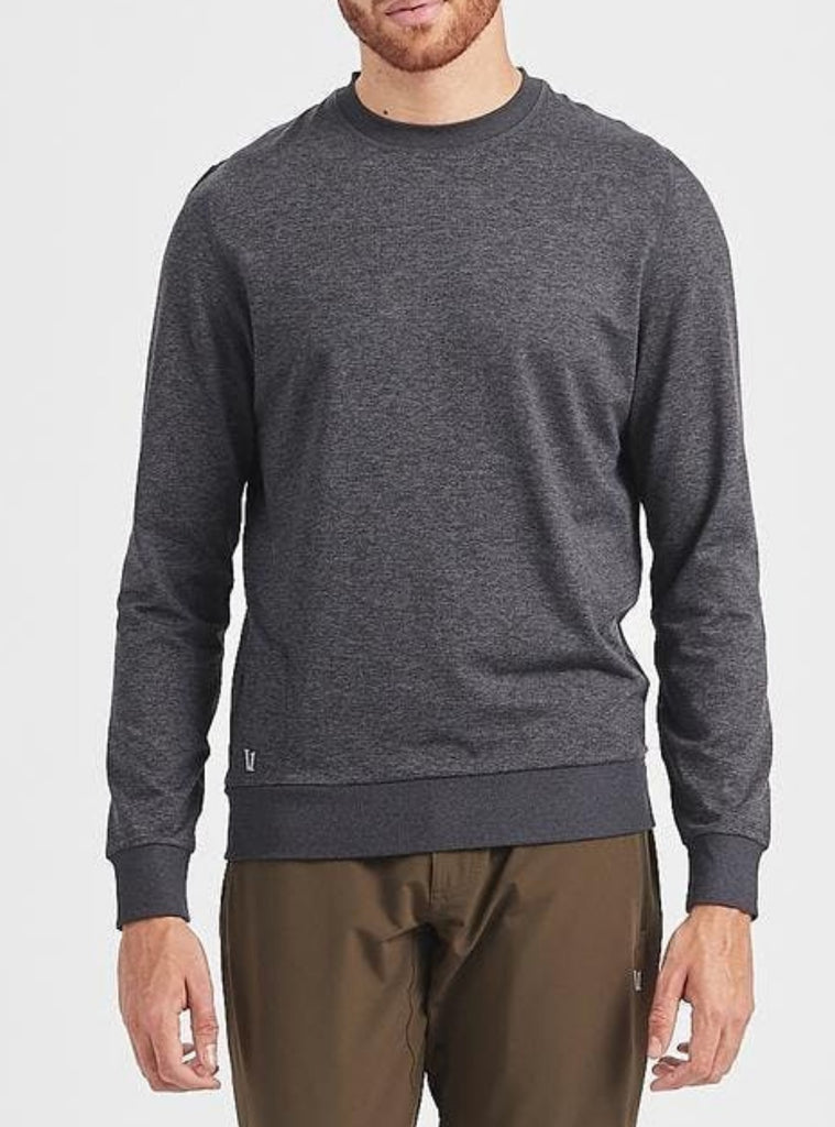 Vuori Ponto Performance Crewneck Sweatshirt Heather Charcoal