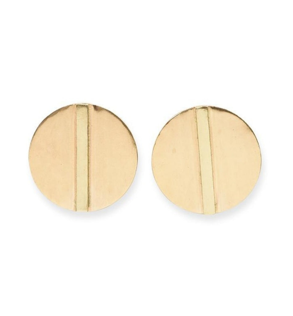 Ink + Alloy Small Bar In Circle Brass Earring