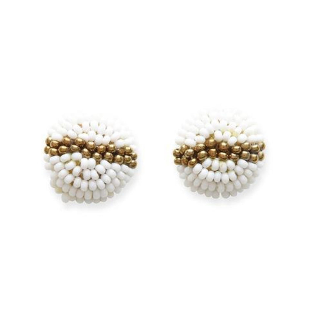 Ink + Alloy Button Post Studs Earring White + Gold