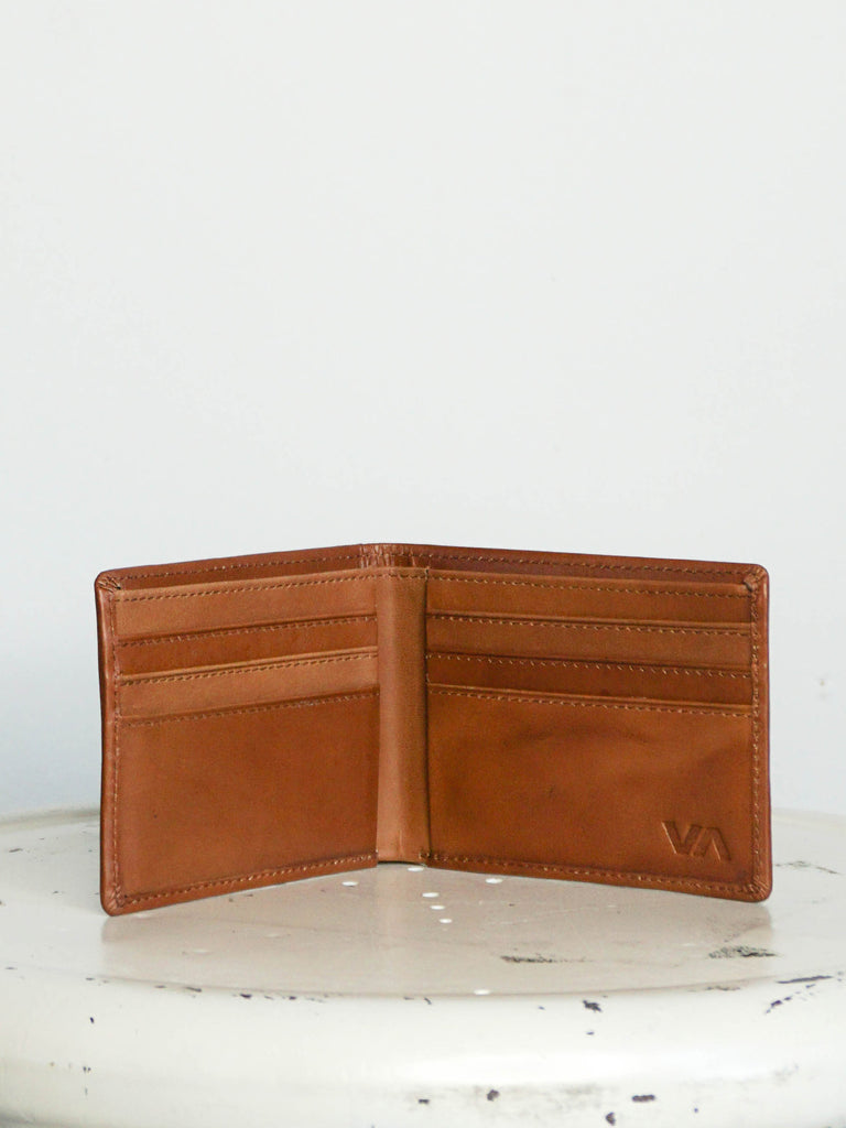 RVCA Crest Bifold Leather Wallet Tan