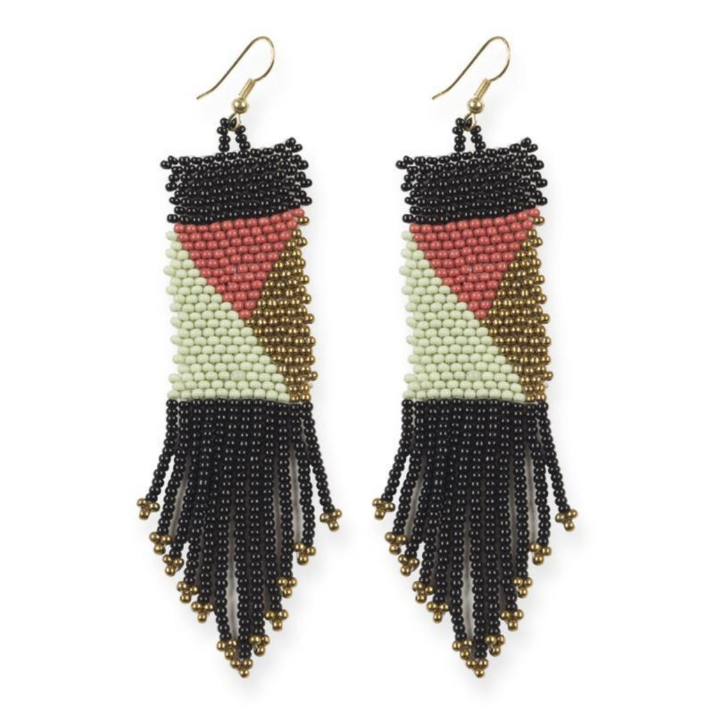 Ink + Alloy Beaded Black Terra Cotta Mint Gold Seed Bead Earring