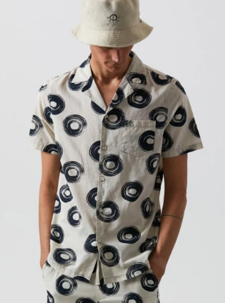 Banks Ty Williams Being Short Sleeve Woven Button Up Bone