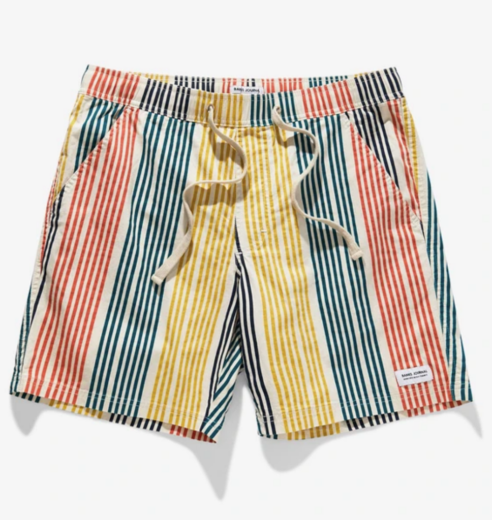 Banks Multiple Elastic Striped Boardshort Bone