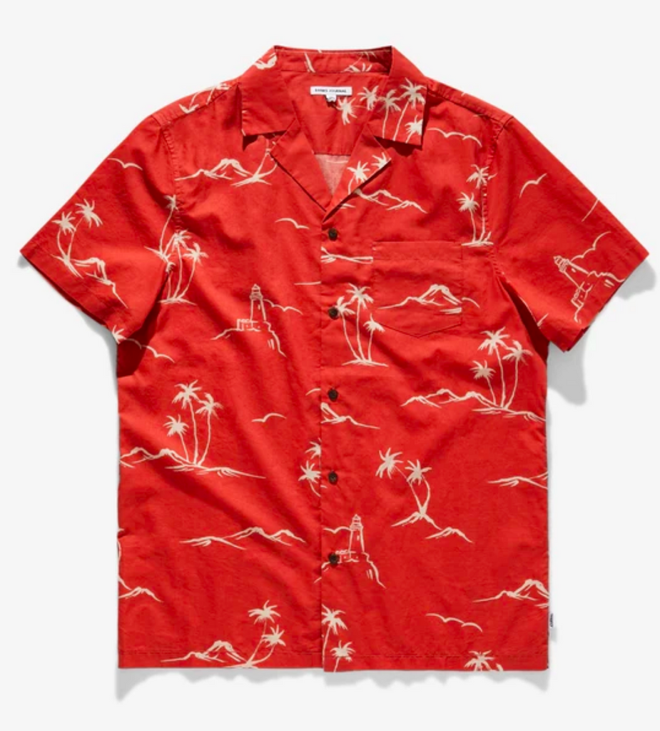 Banks Journal Cape Short Sleeve Woven Shirt Burnt Red