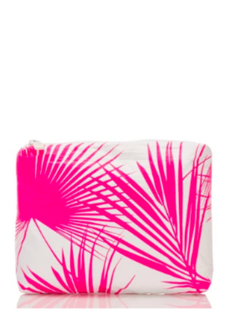 Aloha Collection Small Day Palms Pouch in Neon Pink