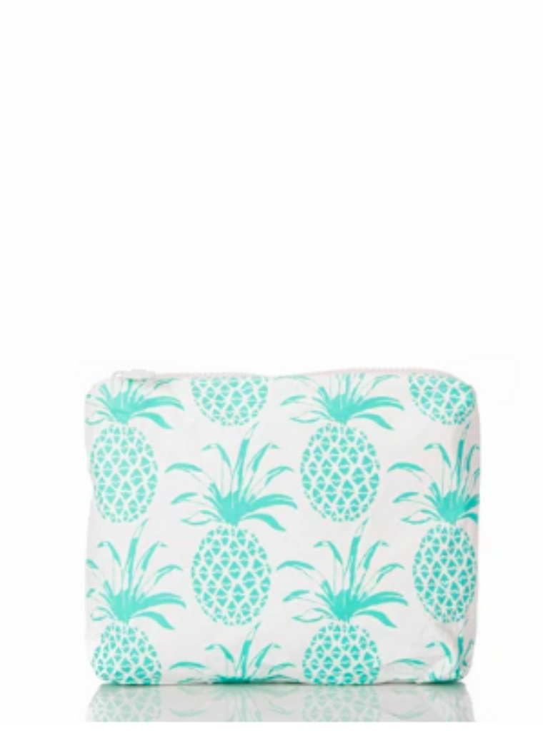 Aloha Collection Small Piña Sola Pouch in Neon Turquoise