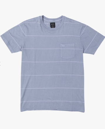 RVCA PTC Stripe II Short Sleeve Knit Tee Ash Blue