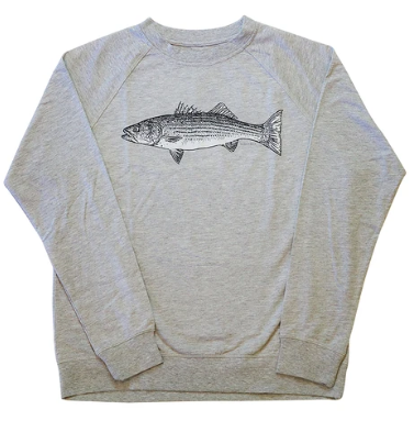 Uroko Striped Bass French Terry Crewneck Heather Grey