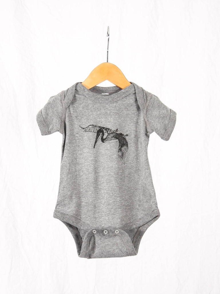 In Flight Baby Onesie Heather Grey