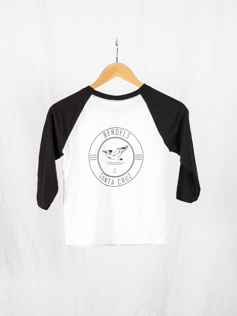 Surf Club Kid's 3/4 Baseball Tee Black & White
