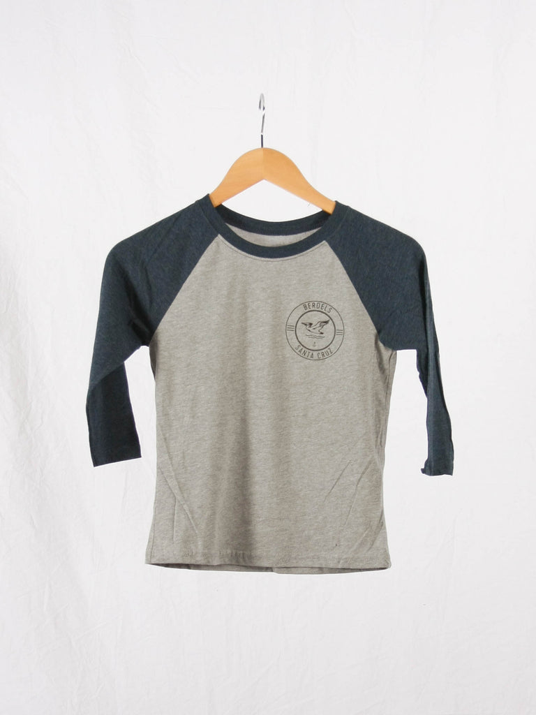 Surf Club Kid's 3/4 Baseball Tee Heather Indigo & Grey