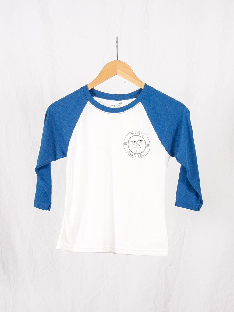 Surf Club Kid's 3/4 Baseball Tee Royal Blue and White