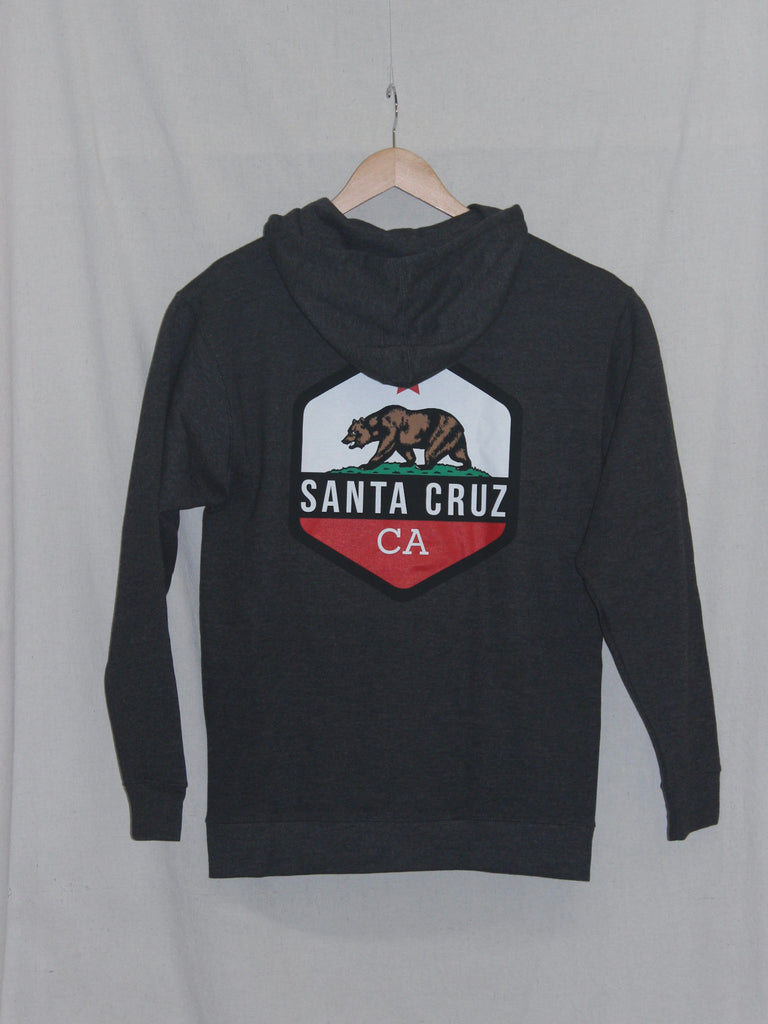 CA Bear Zip Hoodie Heather Charcoal