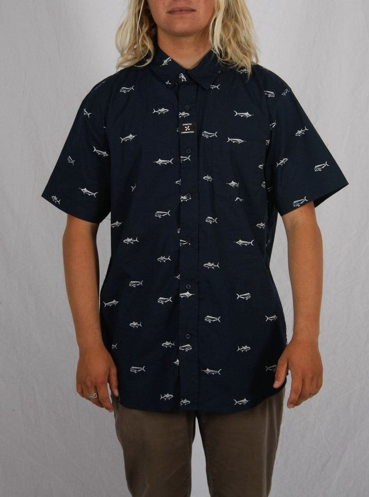 Berdels Captain John Short Sleeve Button Up Woven Shirt Navy