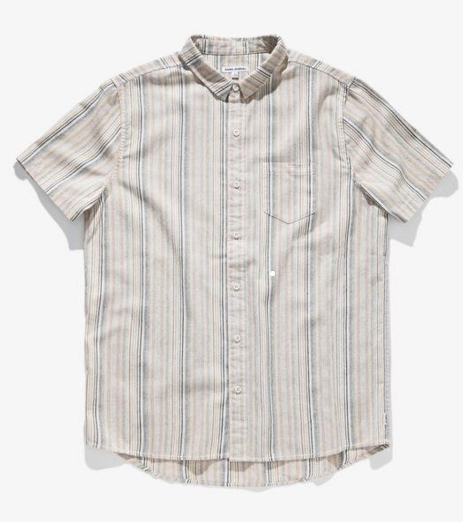 Banks Collins Striped Short Sleeve Woven Button Up Bone